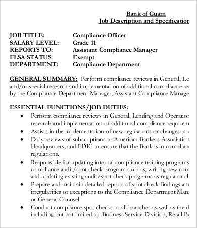 compliance officer job description pdf