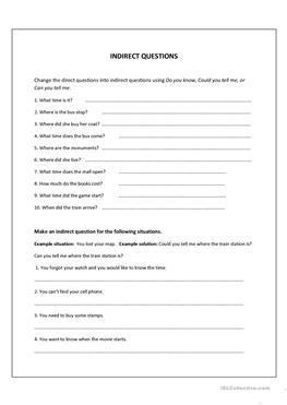 direct and indirect questions worksheets pdf