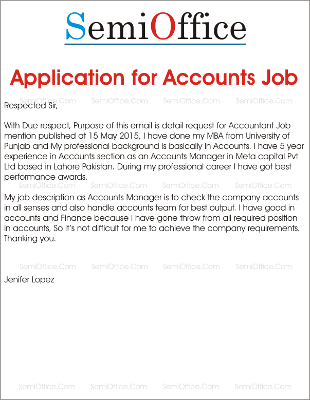 cover letter for job application for accounting job