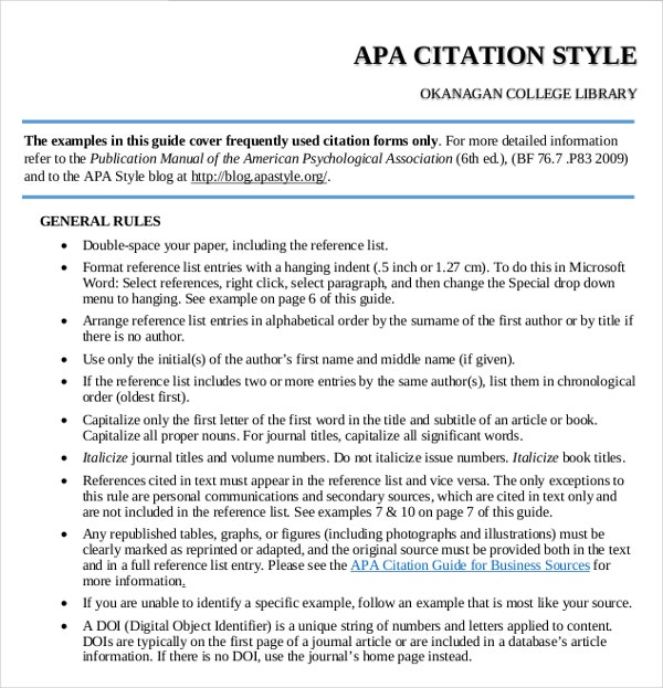 guidelines for 2016 edition apa format