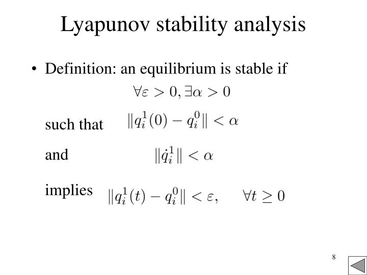 first method of lyapunov stability in real application
