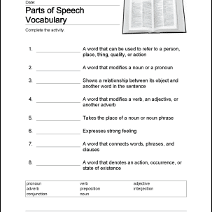 parts of speech quiz pdf