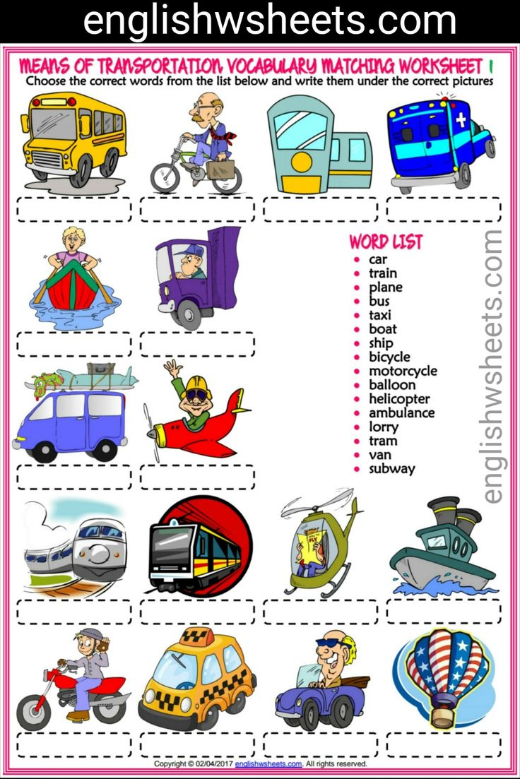transportation for children picture pdf