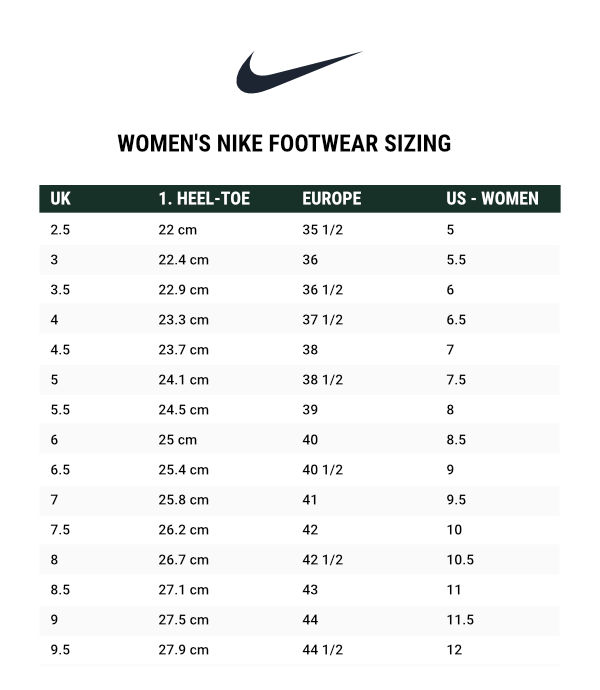 nike size guide womens shoes