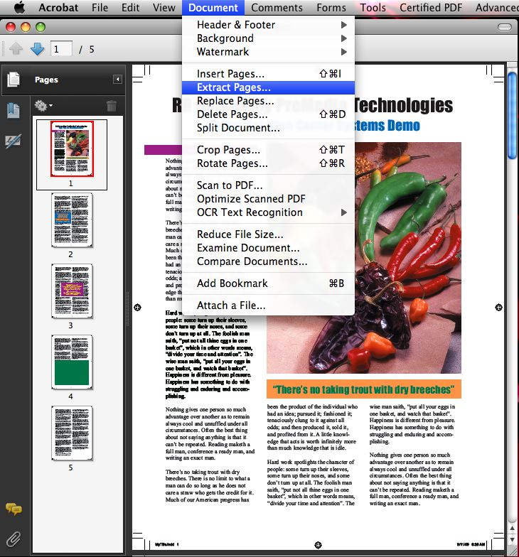 how to separate pdf pages on mac