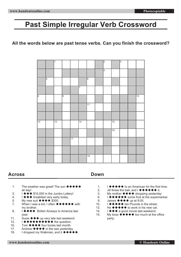irregular verbs crossword puzzle worksheet pdf